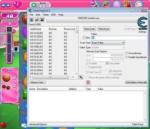 Cheat Engine Candy Crush 1