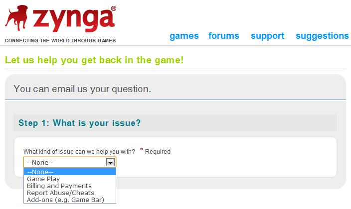 Tutorial Guia: Como entrar em contato com a Zynga em caso de problemas com CityVille 1