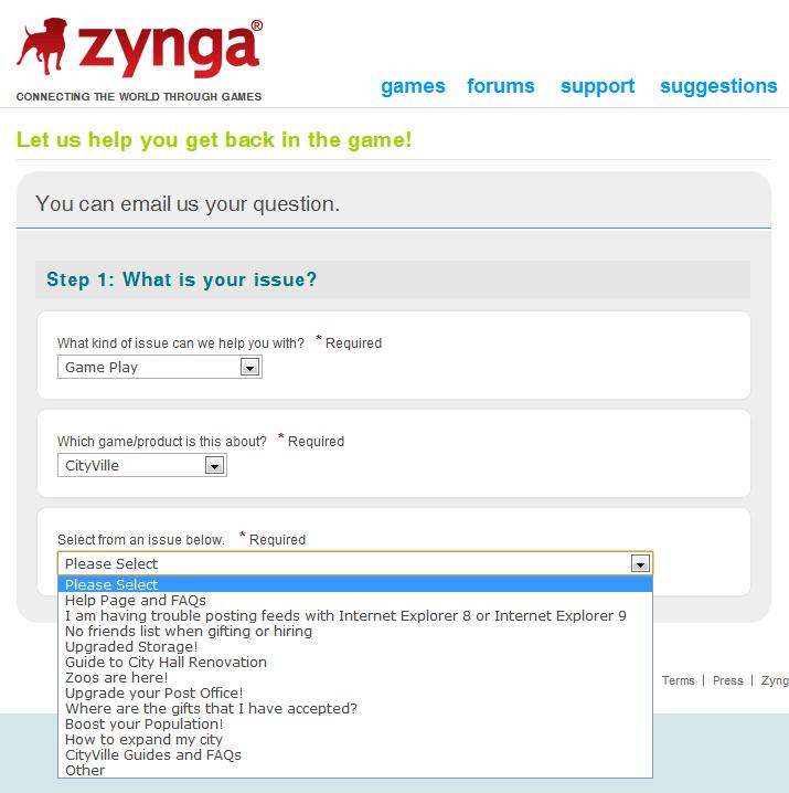 Tutorial Guia: Como entrar em contato com a Zynga em caso de problemas com CityVille 3