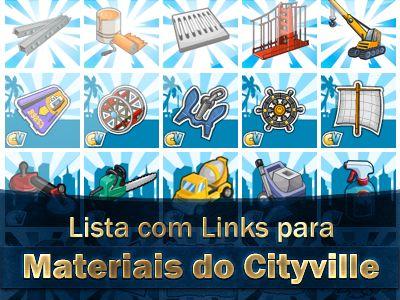 Lista com todos links de Materiais do Cityville