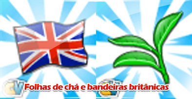 Materiais: Folhas de chá e bandeiras britânicas! 1