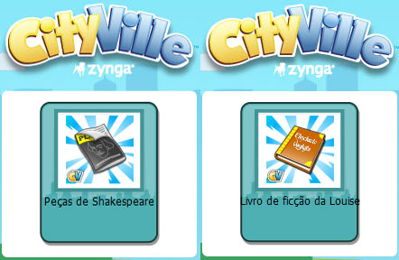 material dicas cityville - Materiais: Links para pedir Peças de Shakespeare e Livro de ficção da Louise