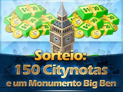 Sorteio: 150 Citynotas e um Monumento Big Ben está encerrado.
