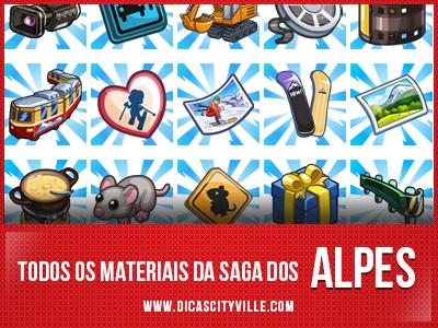 todos os materiais da saga dos alpes dicas cityville - CityVille: Todos os Materiais da Saga dos Alpes