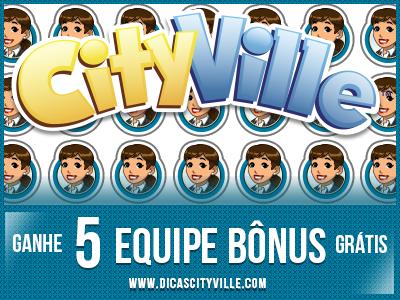 Material CityVille: Link para pedir 5 equipe bônus grátis